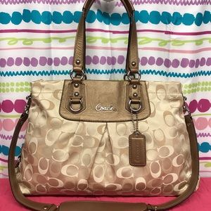 COACH ASHLEY TRI-COLOR SIGNATURE CARRYALL TOTE BAG